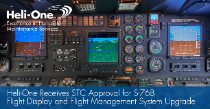 Heli-One Receives STC Approval For S-76B Flight Display and Flight Management System Upgrade