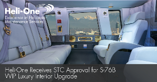 Heli-One Receives STC Approval For S-76B VVIP Luxury Interior Upgrade