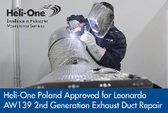 Heli-One Poland Announces AW139 2nd Gen Exhaust Duct Repair Capability