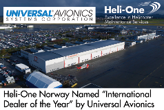 """Heli-One Norway named """"International Dealer of the Year"""" by Universal Avionics"""