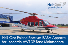 Heli-One Poland Receives EASA Approval for AW139 Base Maintenance