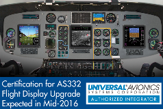 Heli-One Universal Avionics AS332 Flight Display Certification Expected Mid-2016